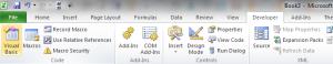 MS Excel 2010 Developer tab
