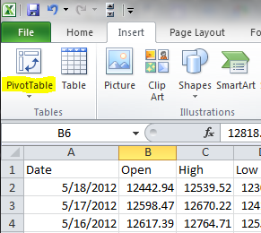 Testing trading strategies in excel